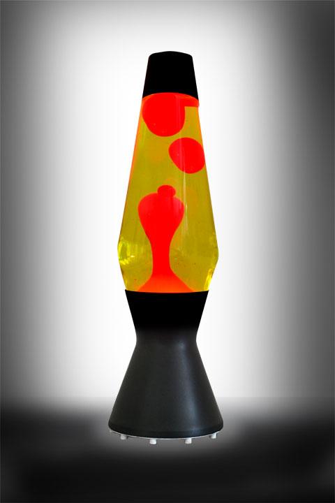 Лава лампа Астро (чёрная) Жёлтый-Красный